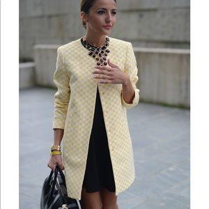 Zara Yellow White Limed Coat Size L